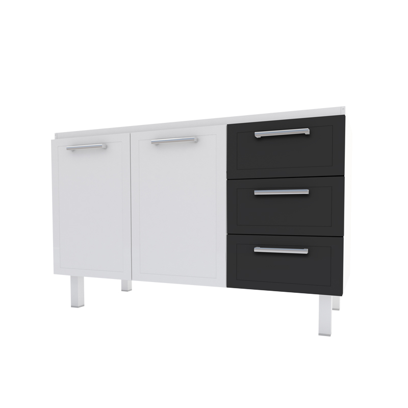 Gabinete Aço Para Cozinha Apolo Flat 1,20 Preto Cozimax