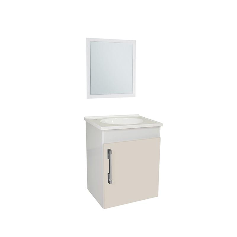 Gabinete MDF Laqueado Fit Branco Com Creme Sicmol