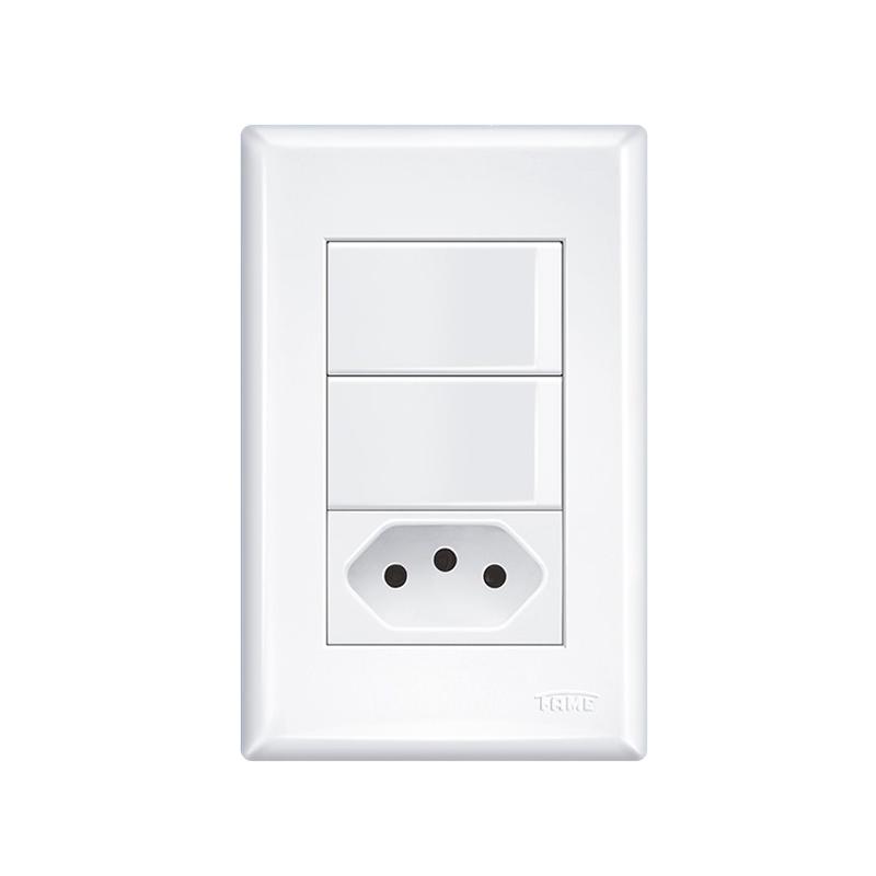 Interruptor 2 Simples Com Tomada 2P+T 10A Evidence 2921Fame