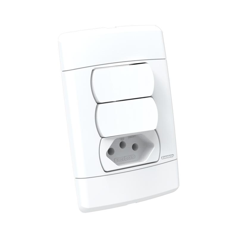 Interruptor 2 Teclas + Tomada 2P+T 20A Sottile 5198 Enerbras