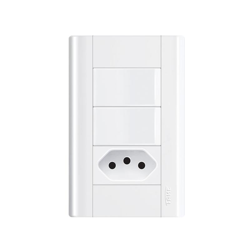 Interruptor Com 2 Teclas e Tomada 2P+T 10A Modulare 1441 Fame