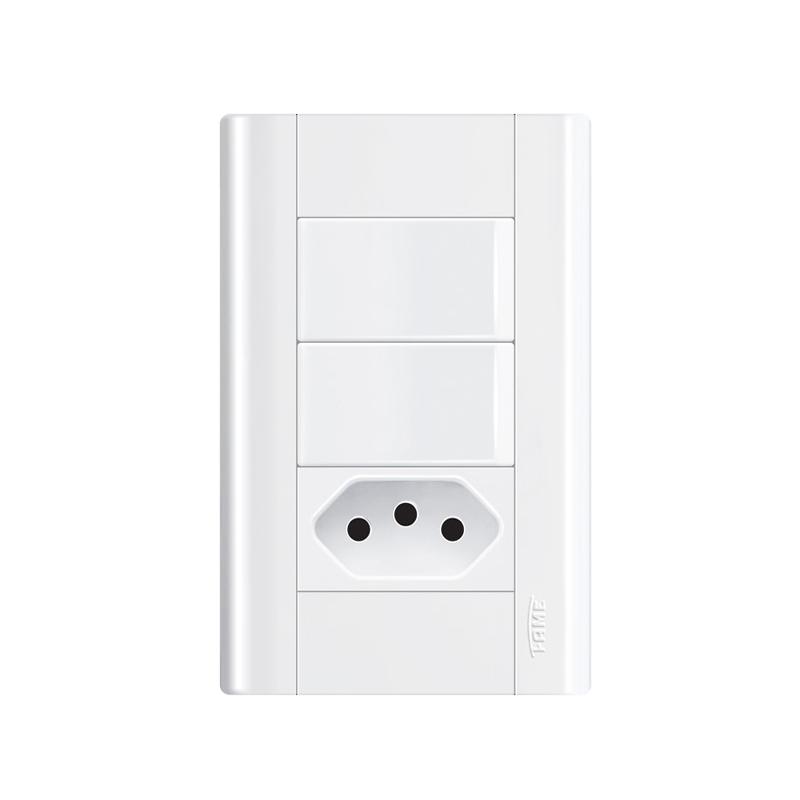 Interruptor Com 2 Teclas e Tomada 2P+T 20A Modulare 1442 Fame