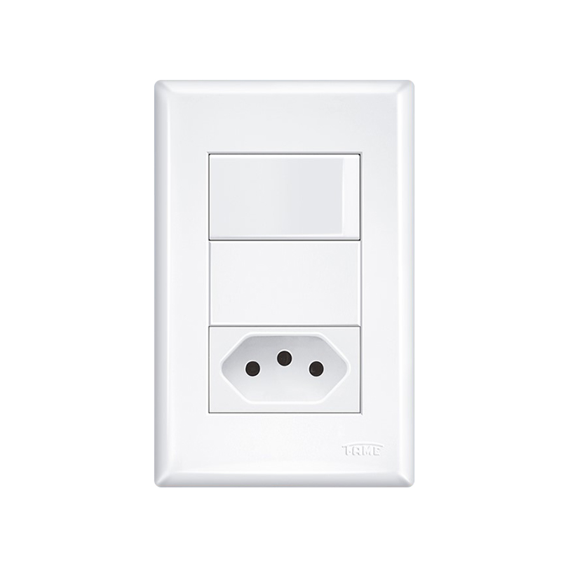 Interruptor Simples Com Tomada 2P+T 20A Evidence 2918 Fame
