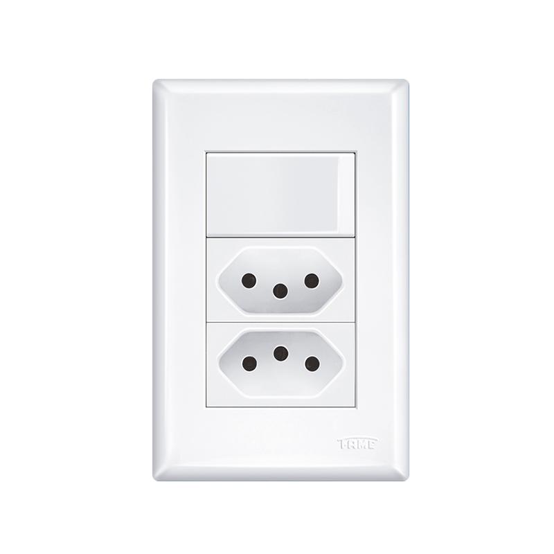 Interruptor Simples E 2 Tomadas 2P+T 20A Evidence 3534 Fame