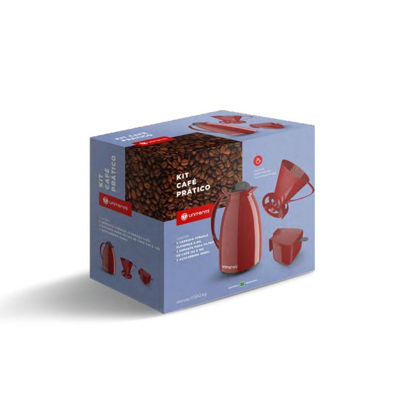 Kit Café Prático Vermelho Unitermi