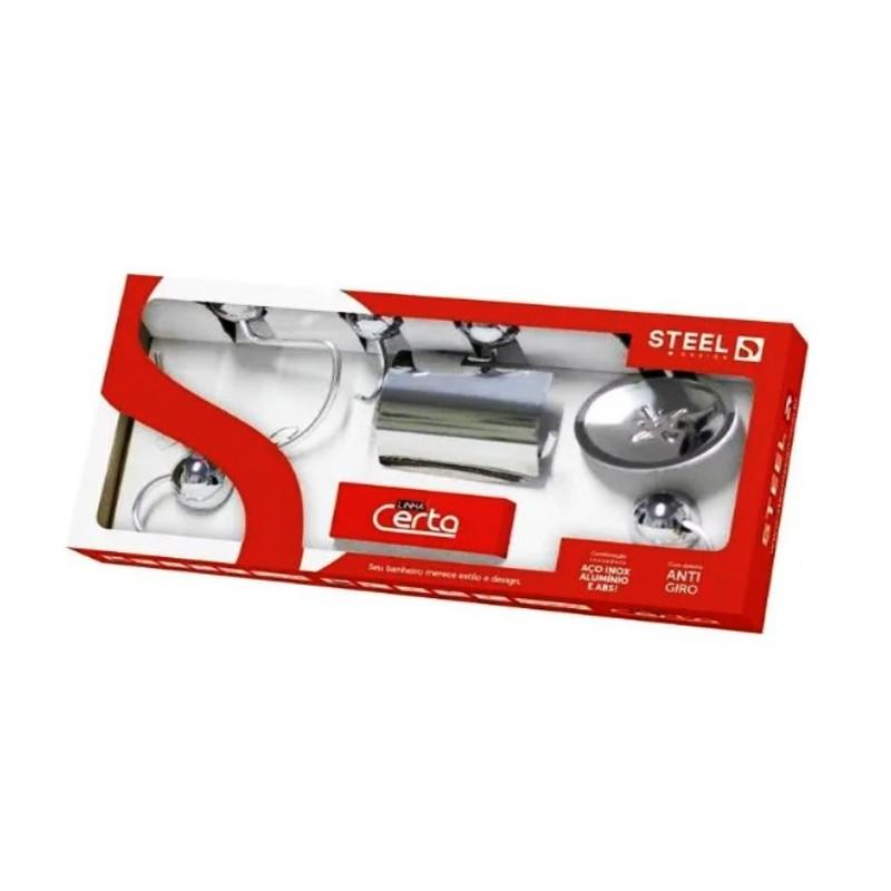 Kit De Acessorios Para Banheiro Com 5 Peças Certa Cromado K5Ce Steel