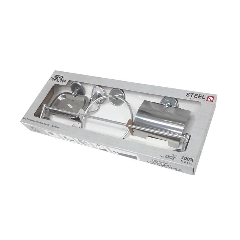 Kit De Acessórios Para Banheiro Com 5 Peças Chroma K5CH Steel