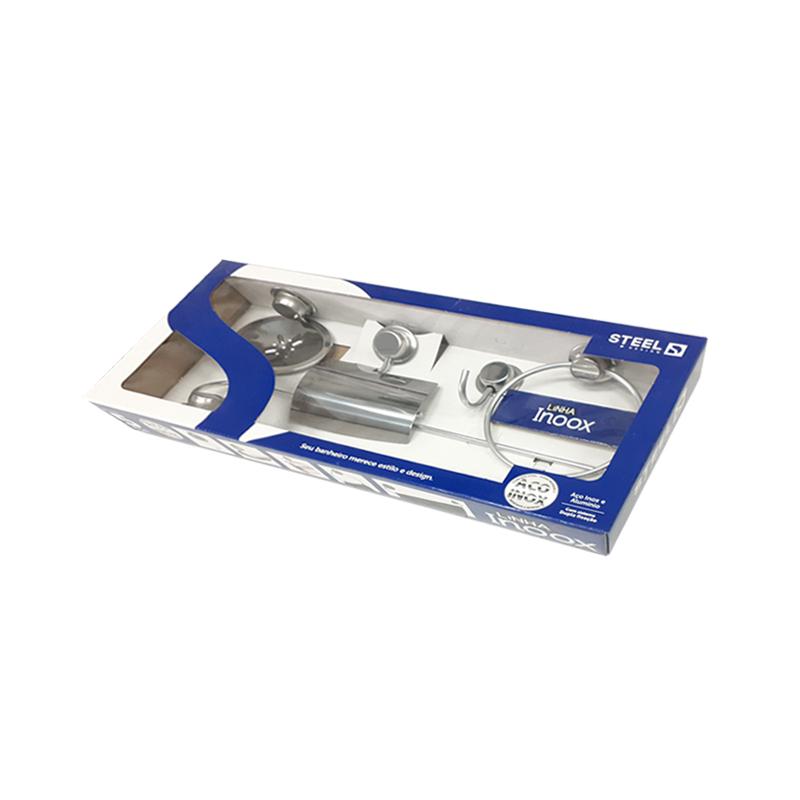 Kit De Acessórios Para Banheiro Com 5 Peças Inox K5OX Steel