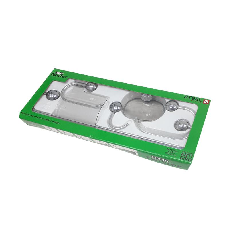 Kit De Acessórios Para Banheiro Com 5 Peças Twister Fume K5TWFM Steel