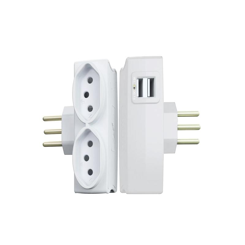 Pino Eletrico Com 2 USB E 2 Tomadas 10A Branco 1648 Daneva