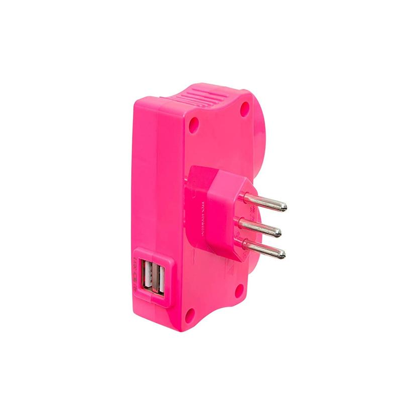 Pino Eletrico Com 2 USB E 2 Tomadas 10A Rosa 1652 Daneva