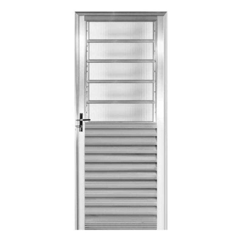 Porta De Alumínio 2,10A x 0,80L Veneziana Com Basculante Direita 181 Clm