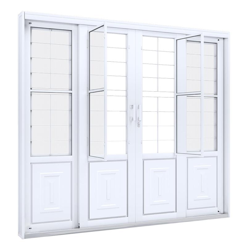 Portão Aço Branco 2,13A x 2,00L Com 4 Folhas Balcão Central 1775.0 Riobras