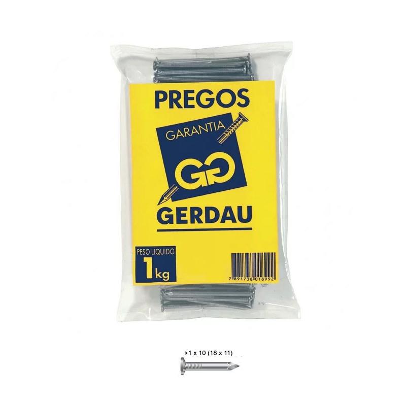 Prego 1 x 10 Com Cabeça 18 x 11 Gerdau