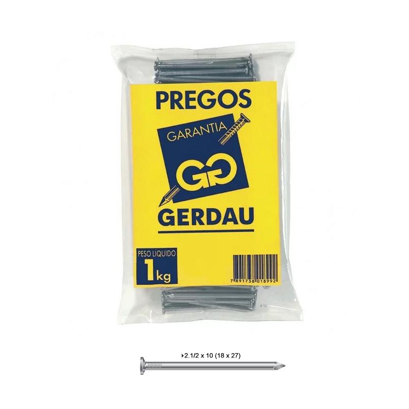 Prego 2.12 x 10 (18 x 27) Com Cabeça Gerdau
