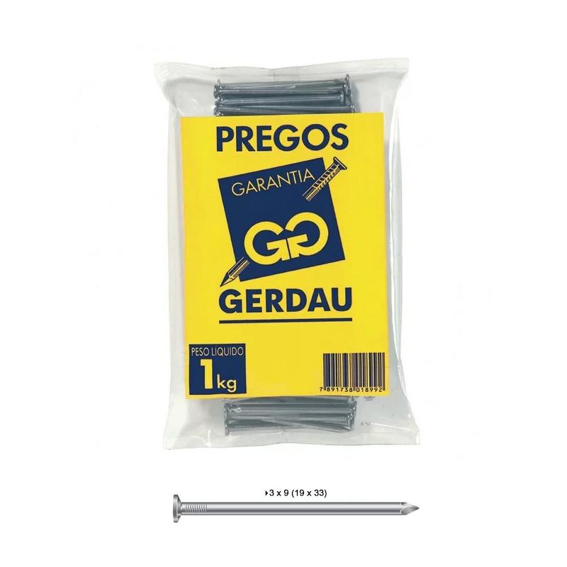 Prego 3 x 9 (19 x 33) Com Cabeça Gerdau