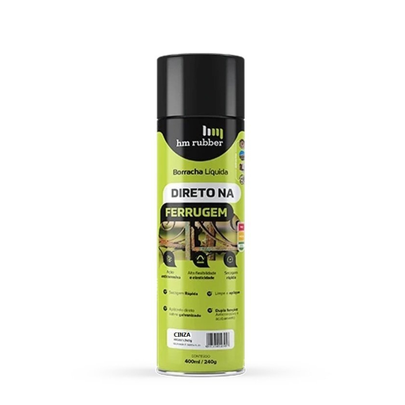 Spray Direto Na Ferrugem 400mL Cinza Hm Rubber
