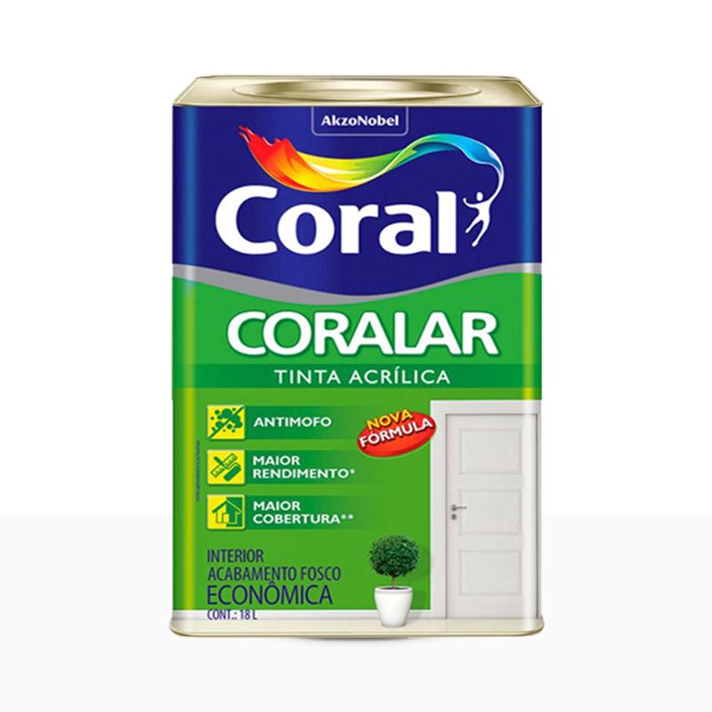 Tinta Acrílica Coralar Fosca 18L Branco Neve Coral