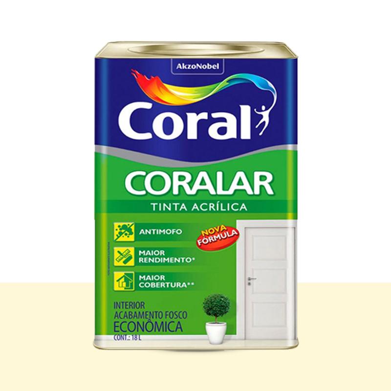 Tinta Acrílica Coralar Fosca 18L Pérola Coral