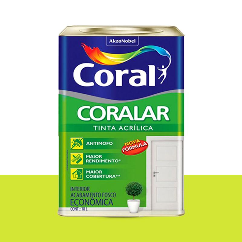 Tinta Acrílica Coralar Fosca 18L Refresco Coral
