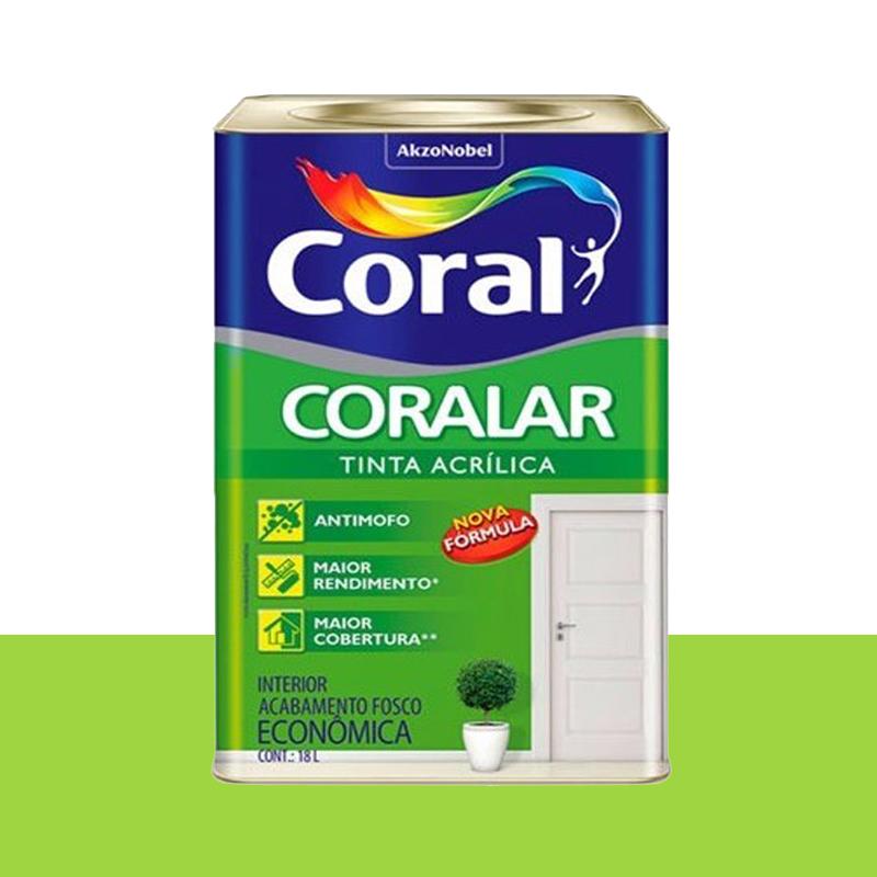 Tinta Acrílica Coralar Fosca 18L Verde Limão Coral