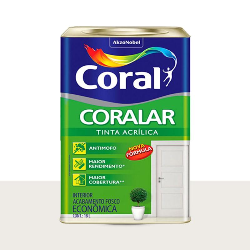 Tinta Acrílica Coralar Fosco 18L Branco Gelo Coral