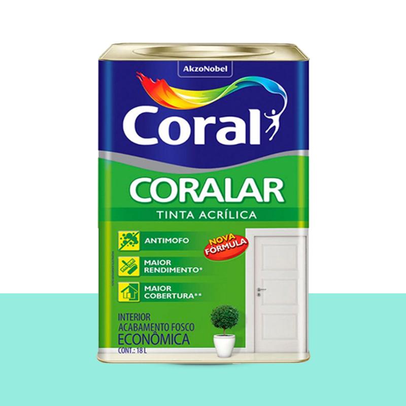 Tinta Acrílica Coralar Fosco 18L Verde Piscina Coral