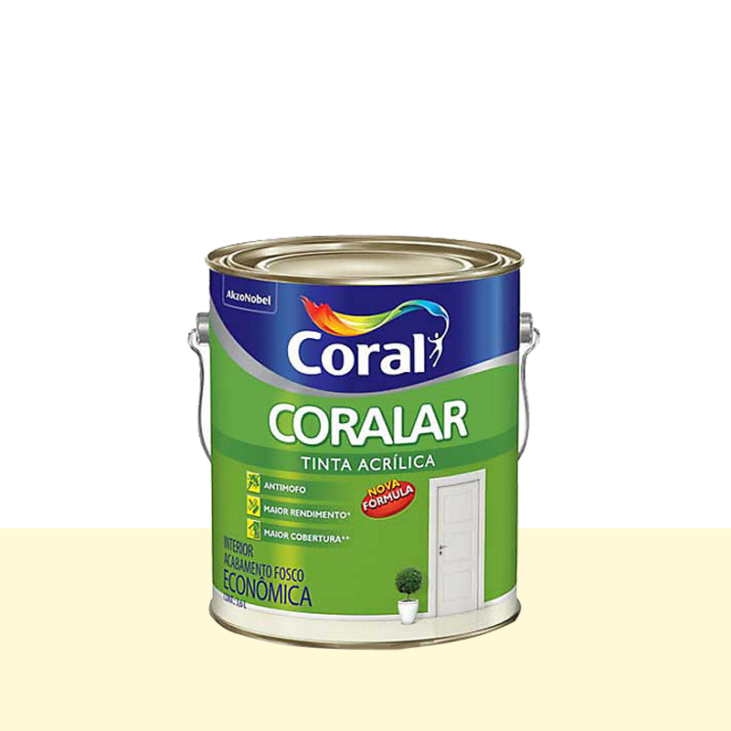 Tinta Acrilica Coralar Fosco 3,6L Palha Coral