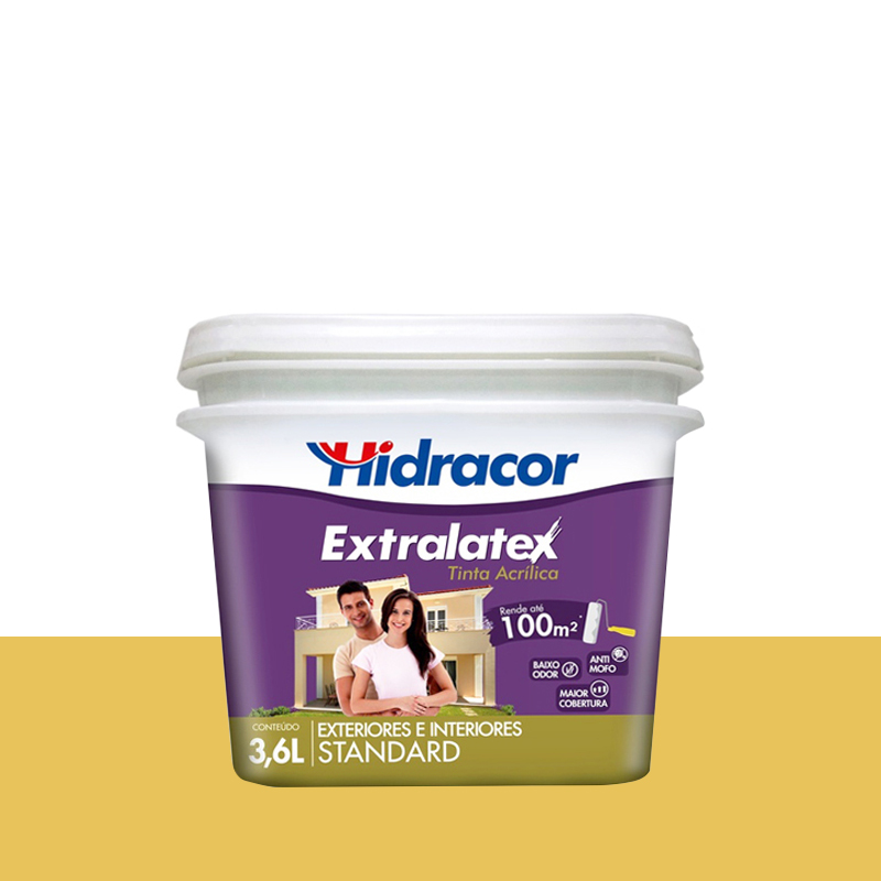 Tinta Acrilica Extralatex Fosca 3,6L Amarelo Floral Hidracor