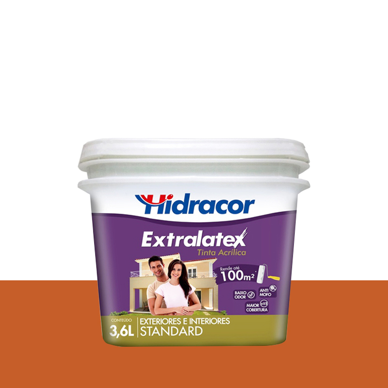 Tinta Acrilica Extralatex Fosca 3,6L Laranja Havai Hidracor