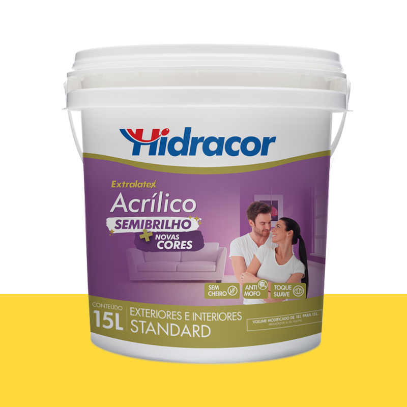 Tinta Acrilica Extralatex Semi Brilho 15L Amarelo Canario Hidracor