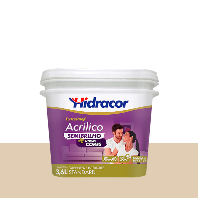 Tinta Acrílica Extralatex Semi Brilho 3,6L Areia Hidracor