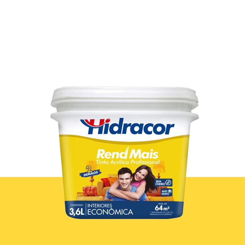 Tinta Acrílica Rendmais Fosca 3,6L Amarelo Canário Hidracor