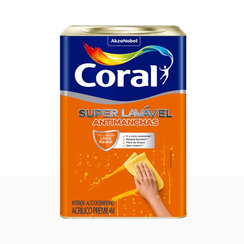 Tinta Acrílica Super Lavável 18L Branco Neve Coral