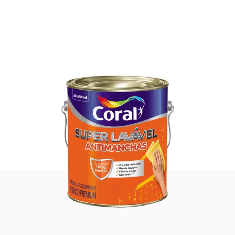 Tinta Acrilica Super Lavavel 3,6L Branco Neve Coral