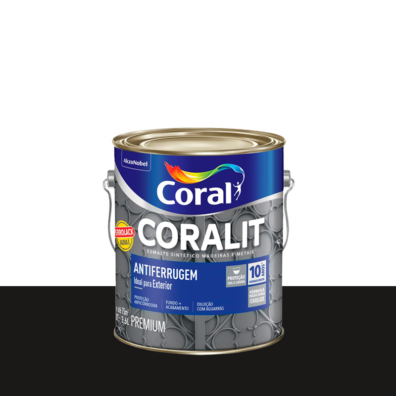 Tinta Coralit Antiferrugem 3,6L Preto Coral