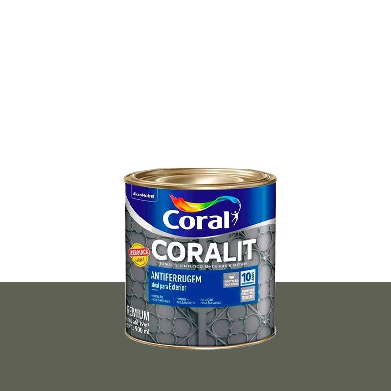 Tinta Coralit Antiferrugem 900mL Cinza Coral