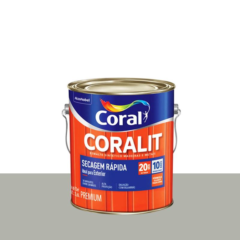 Tinta Esmalte Coralit Secagem Rapida 3,6L Aluminio Coral