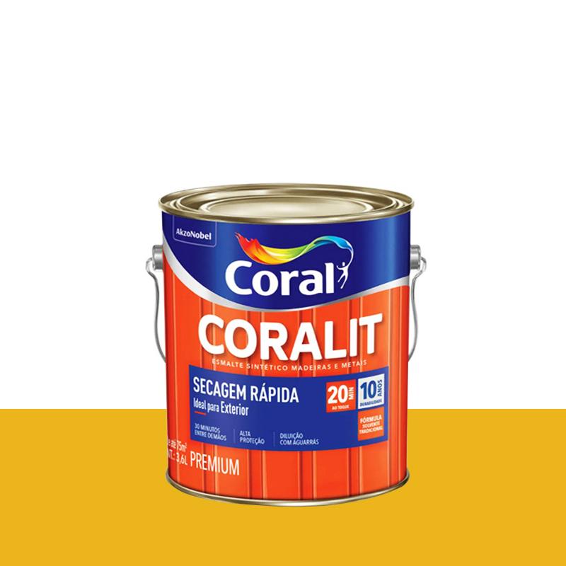 Tinta Esmalte Coralit Secagem Rapida 3,6L Amarelo Trator Coral