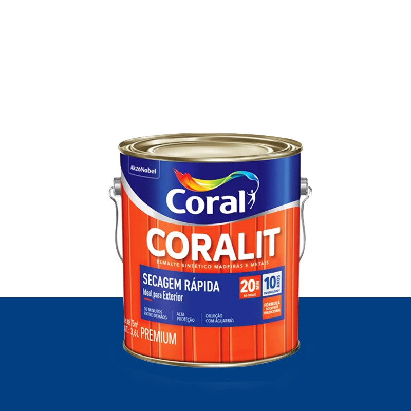 Tinta Esmalte Coralit Secagem Rapida 3,6L Azul França Coral