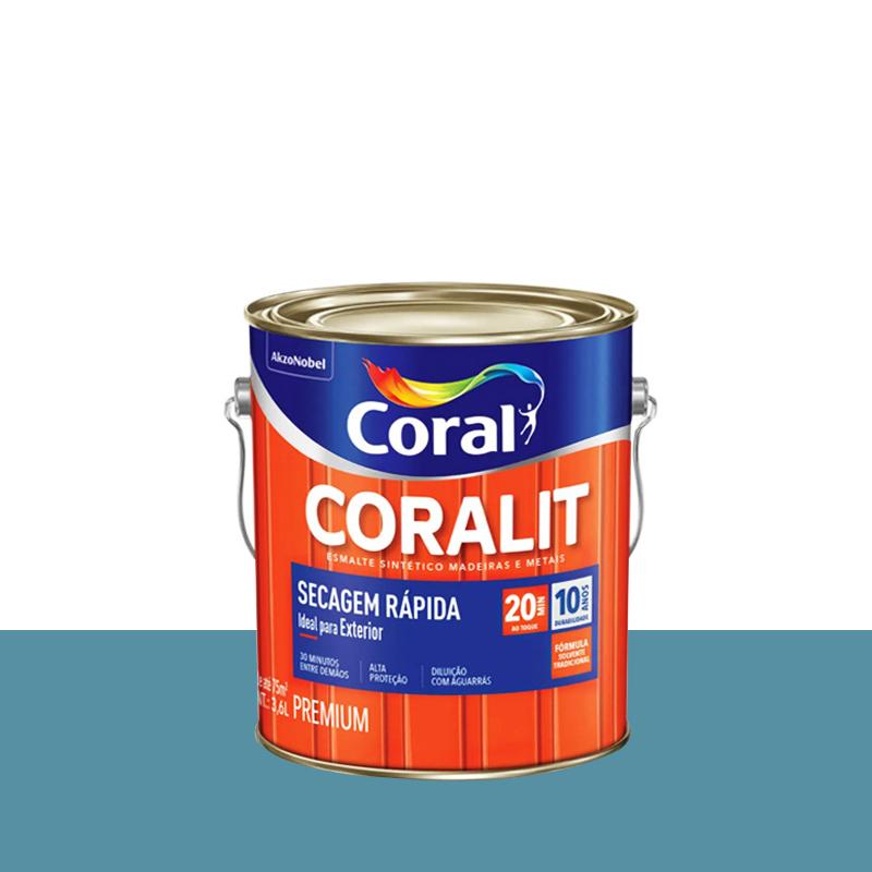 Tinta Esmalte Coralit Secagem Rápida 3,6L Azul Mar Coral