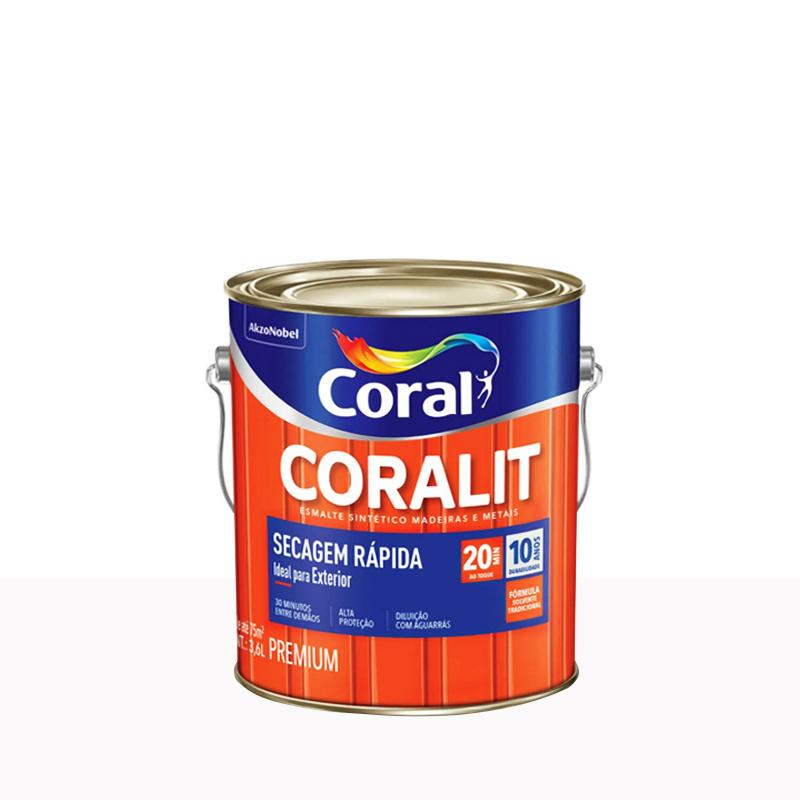 Tinta Esmalte Coralit Secagem Rápida 3,6L Branco Neve Coral