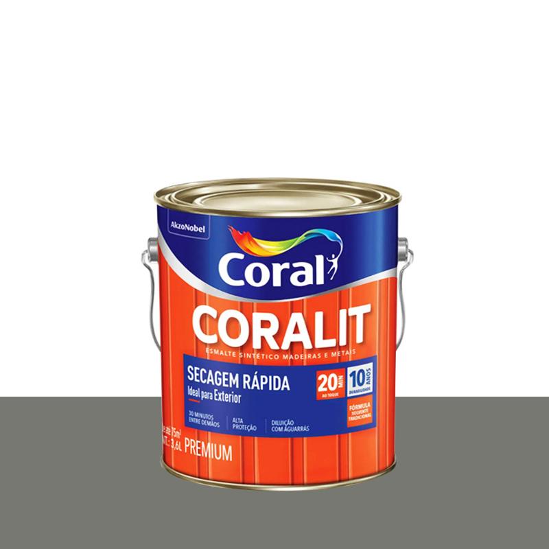 Tinta Esmalte Coralit Secagem Rápida 3,6L Cinza Médio Coral