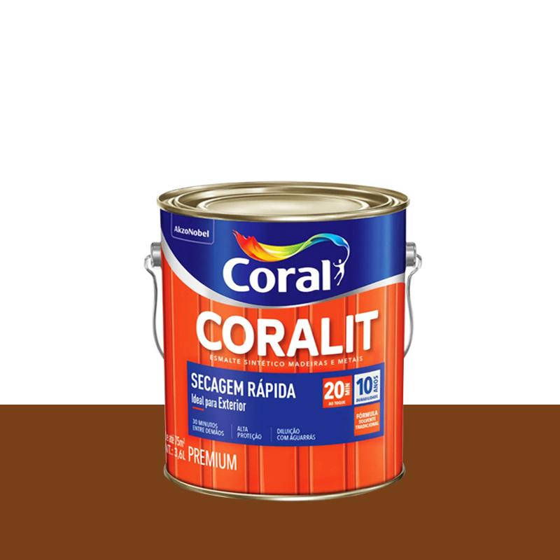 Tinta Esmalte Coralit Secagem Rápida 3,6L Conhaque Coral