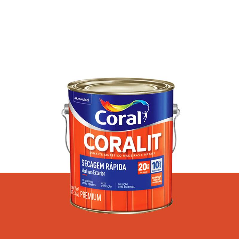 Tinta Esmalte Coralit Secagem Rápida 3,6L Laranja Coral