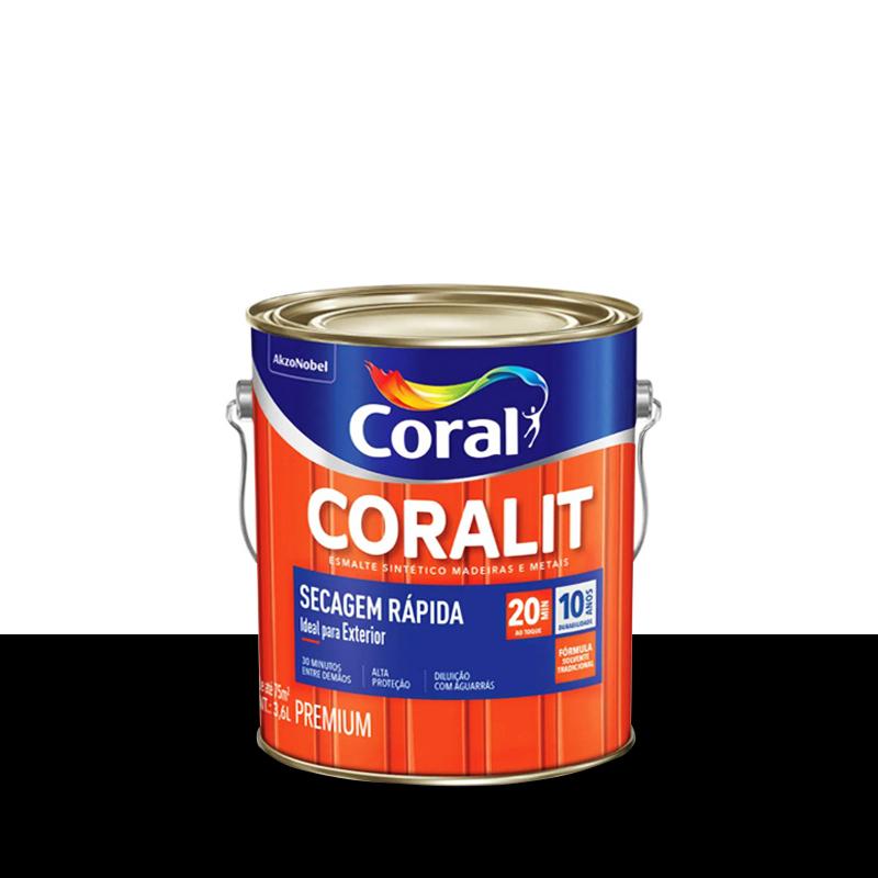 Tinta Esmalte Coralit Secagem Rápida 3,6L Preto Coral