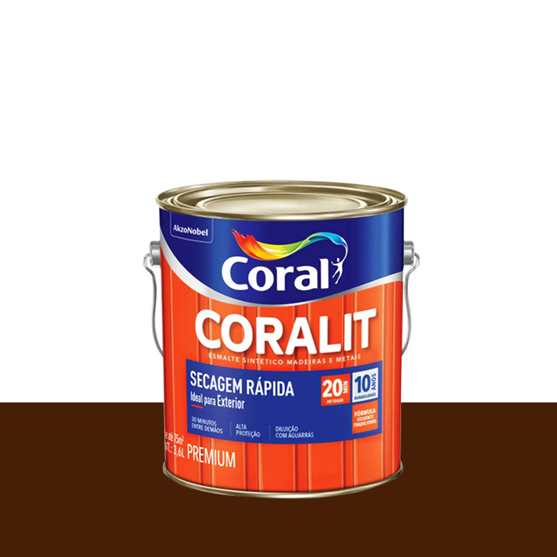 Tinta Esmalte Coralit Secagem Rápida 3,6L Tabaco Coral
