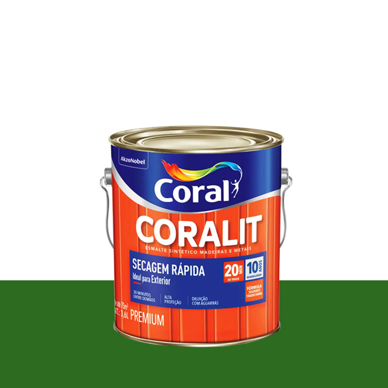 Tinta Esmalte Coralit Secagem Rápida 3,6L Verde Folha Coral