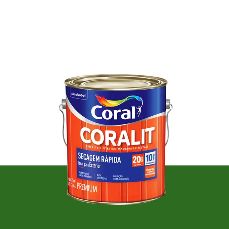 Tinta Esmalte Coralit Secagem Rapida 3,6L Verde Folha Coral