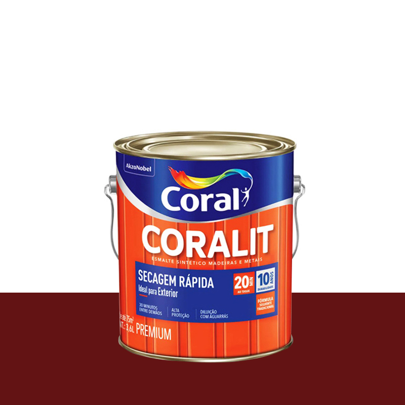 Tinta Esmalte Coralit Secagem Rapida 3,6L Vermelho Goya Coral